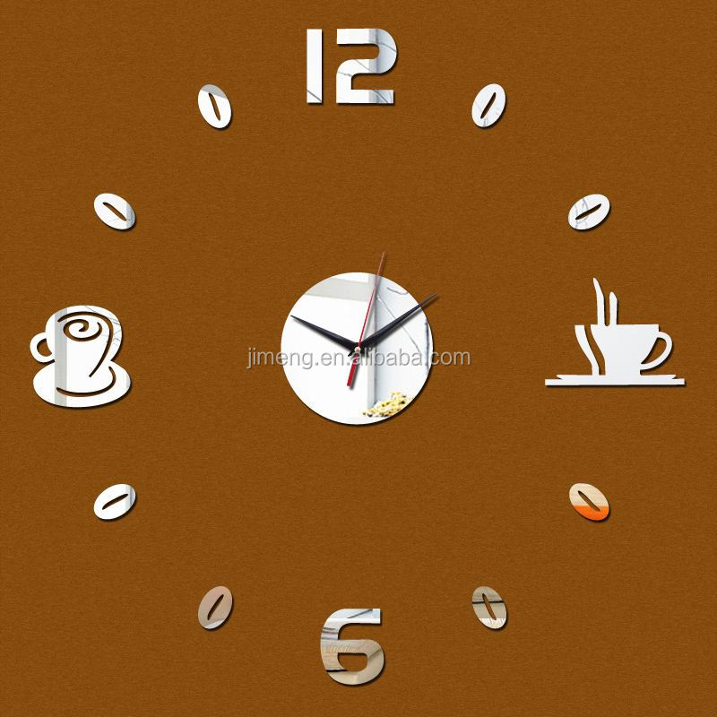 New products Acrylic 3d Sticker Wall Stickers Home Decor Mirror Wall Clock Large Still Life living room taobao agent <strong>source</strong> 1688