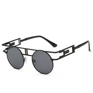 Women's round face sunglasses color film metal sunglasses Personality European style sunglasses
