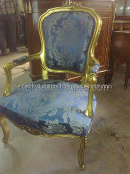 Blue Louis Xv Antique French Armchair