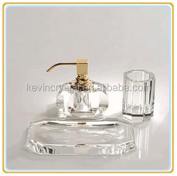Gold Bathroom Accessories Set Crystal Comb Dish Liquid Soap Dispenser Tumbler