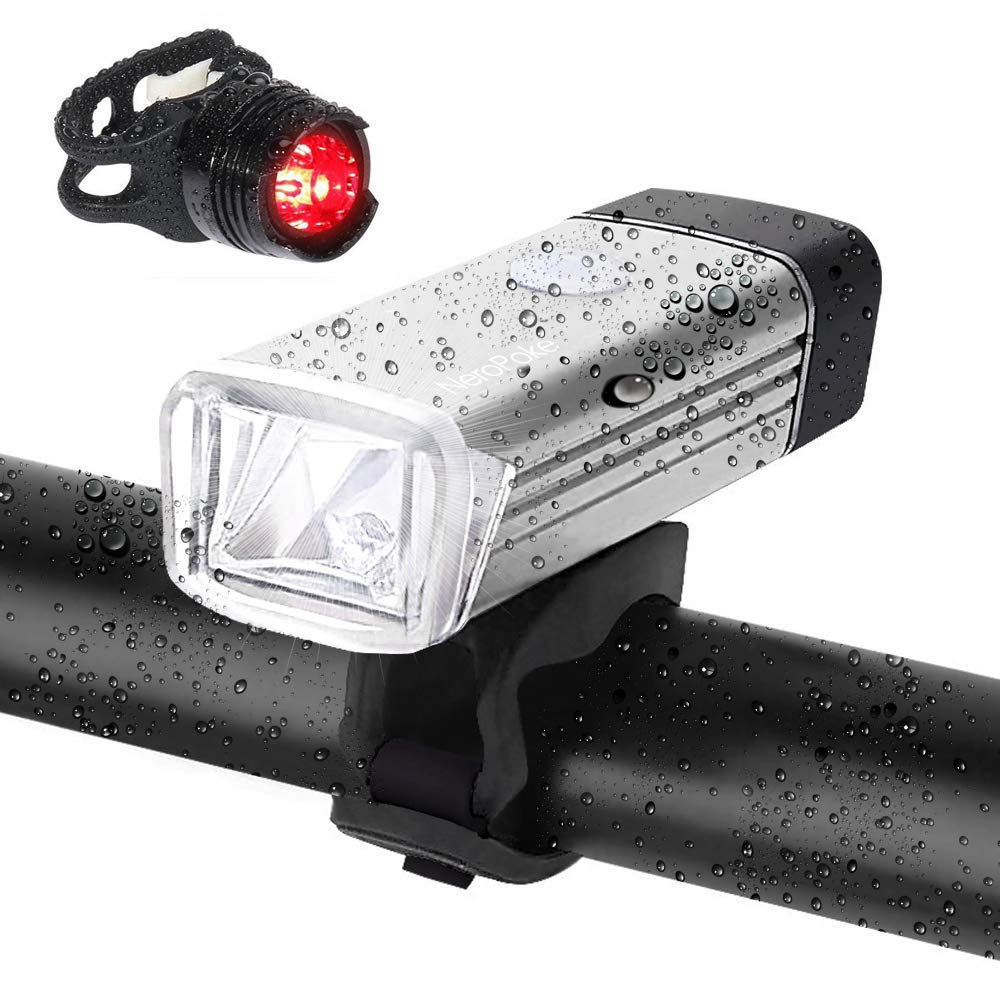Rechargeable Led Bike Light Bike Rear Tallight Set, Carry-on USB Charging, IPX6 Waterproof Cycle Light Fit All Bike Style(Silver)