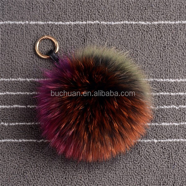 Factory supply raw and dyed colour fox/<strong>rabbit</strong>/raccoon/mink fur pom poms
