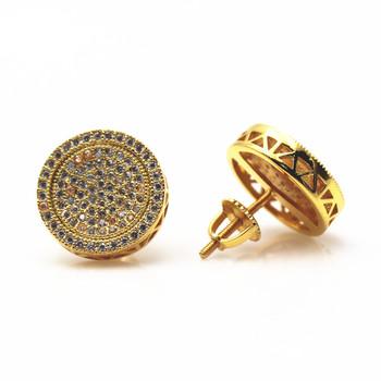 18k Gold Plated Hip Hop Round Men Diamond Stud Earrings