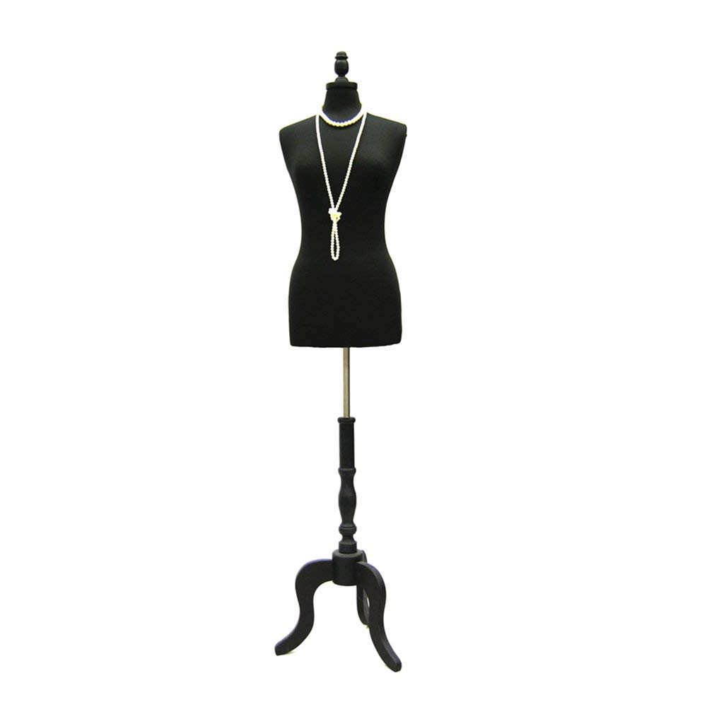 Size 6-8 Premium White Female Fully Pinnable Mannequin Dress Form With Antique Style Tripod Oakwood Base with Cap JF-FWP-W+BS-ATQ-BK