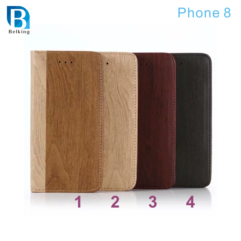 Newest For Iphone 8 Wood Design Wallet Leather Case