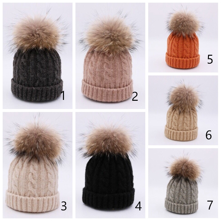 Cotton Wool Hat With Raccoon Fur Pom Wholesale Custom Knit Acrylic Beanie