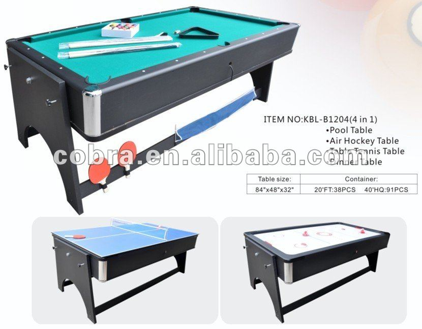 Reversible 4 In 1 Fold Pool Table Air Hockey Tennis Dinner Full Sets Accessory 7ft