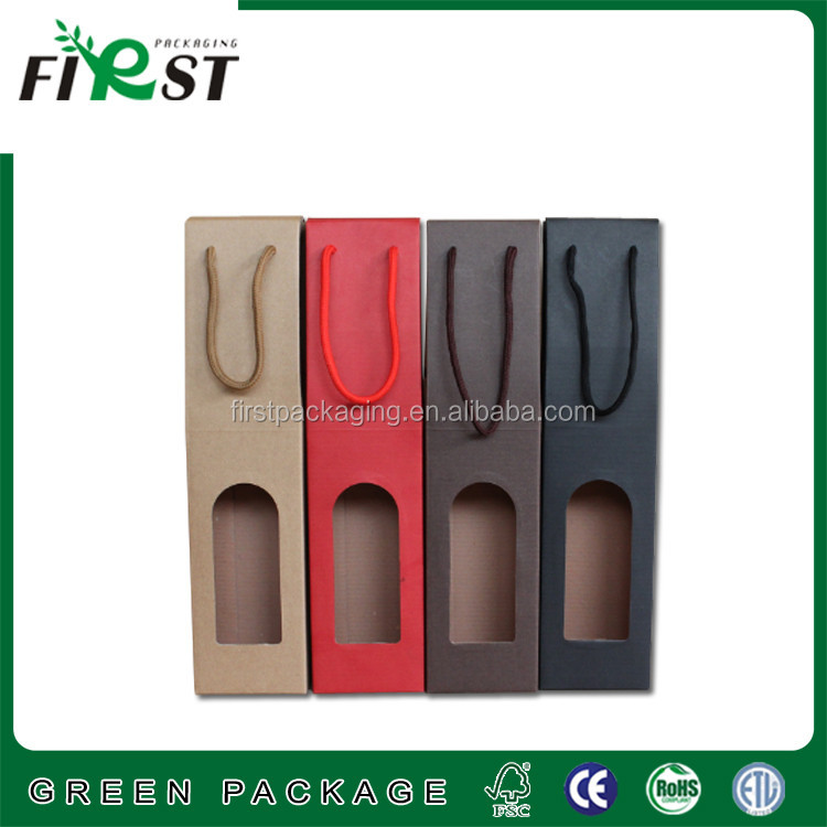single wine glass paper box for corrugated paper one color printing PP handle