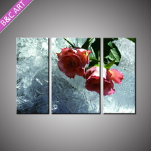 High Quality Large Canvas Art Cheap 3D Stretched Pink Rose Flower Painting