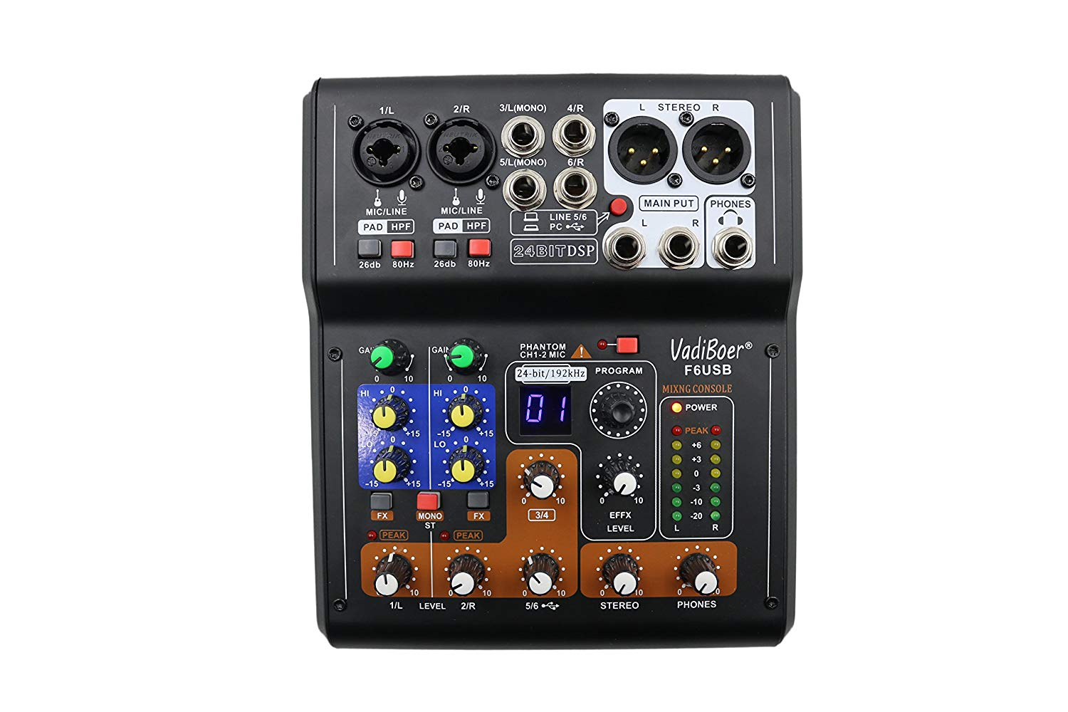 Vadiboer F6 48V 6 Channels Stereo Audio Mic USB Mixing Mixer Console with 16 Group Digital Effects Mini Stage Audio Console Equipment