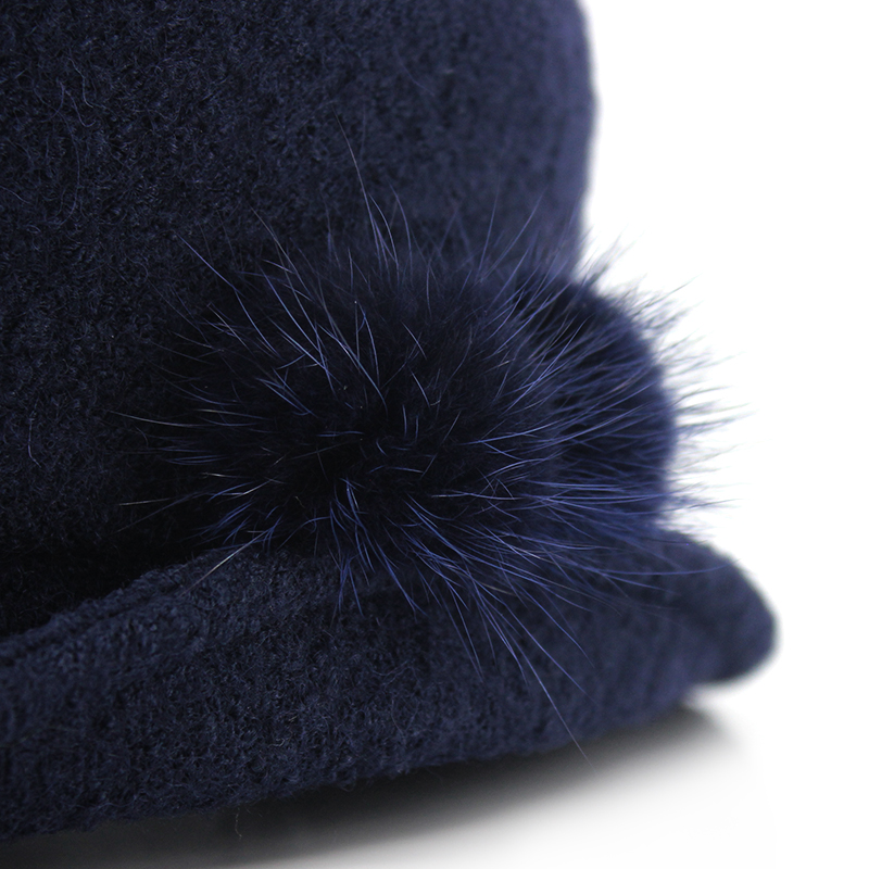 Custom warm melton fabric fashion style shape bucket caps and hats with lovely real rabbit wool pompon OSFA one size fit all