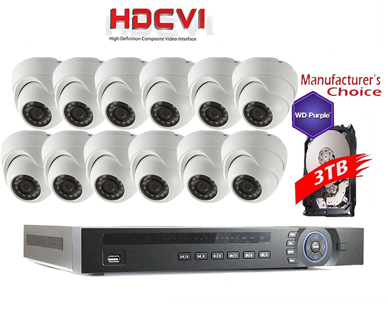 iCare 1080P Package: 16CH HDCVI with 12 x 2MP IR Camera with 3TB WD Purple HDD Pre-installed, 2 years warranty Local US Support