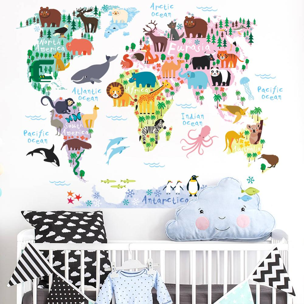 3d Kids Room Colorful Cartoon Animal World Map Home Decal Wall Sticker For  Home Decoration - Buy World Map Wall Sticker Wall Sticker World Map,Wall ...