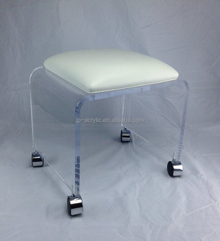 Phenomenal Clear Acrylic Vanity Bench With White Vinyl Cushion And Chrome Casters Buy Acrylic Shower Bench Acrylic Lucite Bench White Storage Bench Product On Bralicious Painted Fabric Chair Ideas Braliciousco