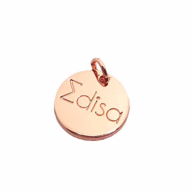 Wholesale engraved rose gold branded logo custom charm pendant jewelry tags for decoration