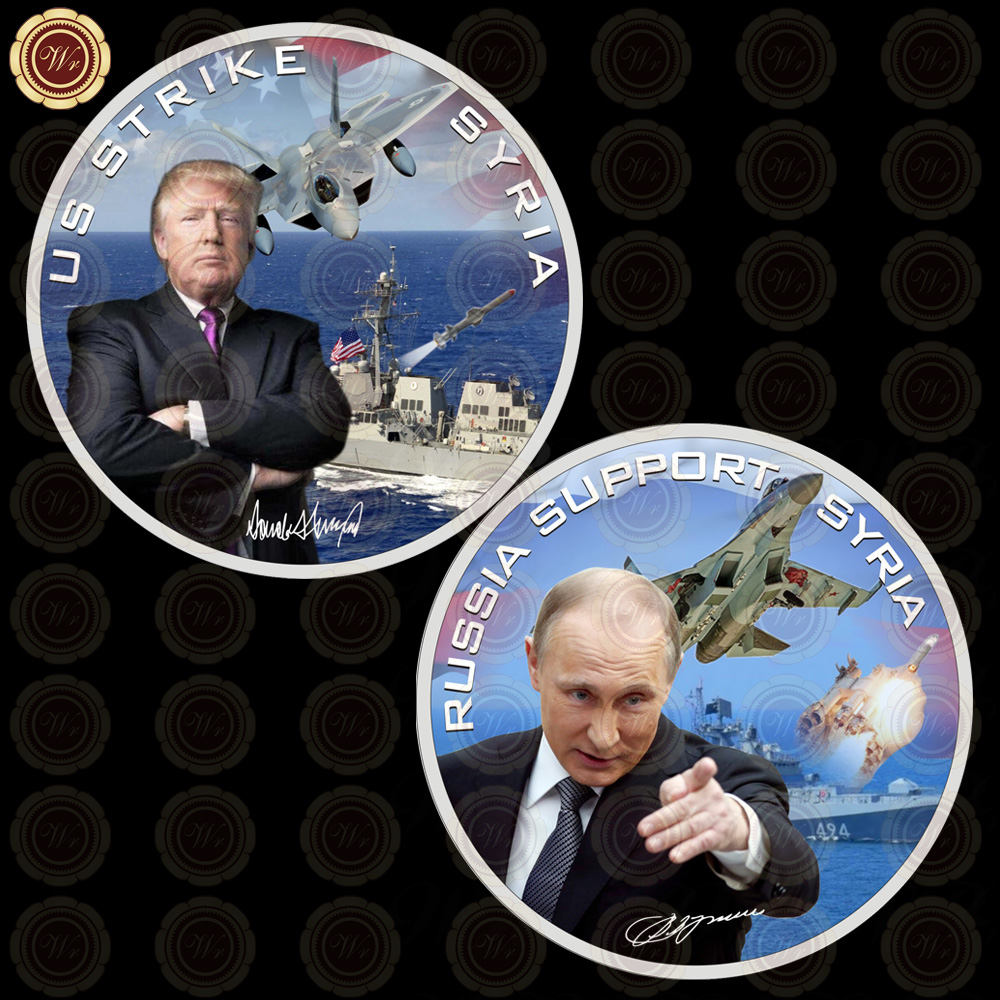 Wr Metal Military Coin Silver Plated US Strike Syria & Russia Support Syria Coin Collectible <strong>Iron</strong> Trump and Putin Model Craft