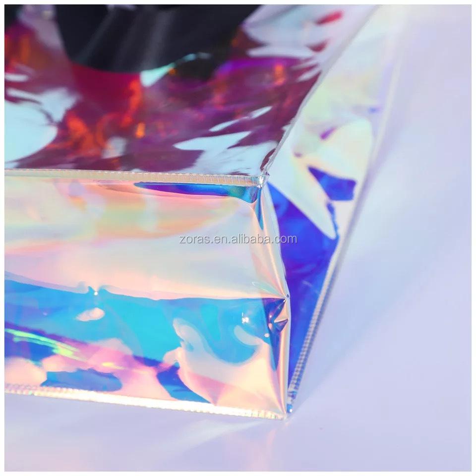 Fashion Transparent Travel Bag Pvc Laser Holographic Hologram Cosmetic Pouch Makeup Bag Clear Pvc Women's Shoulder Bag