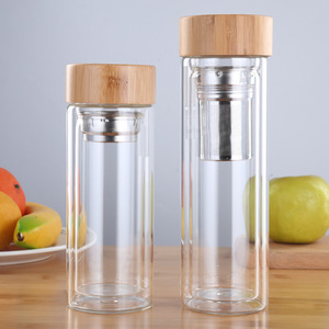Custom Double Wall Tea Infuser Glass Water Bottle With Bamboo Lid