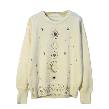 Europe and America 2019 New Heavy Work Gold Fur Luxy Starry Embroidery Round Neck Thick Knit Sweater