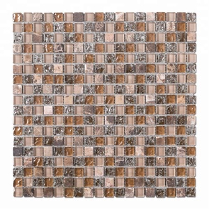 High-end Fashion 15*15 Yellow and Brown Square Lce Crack Glass Mosaic