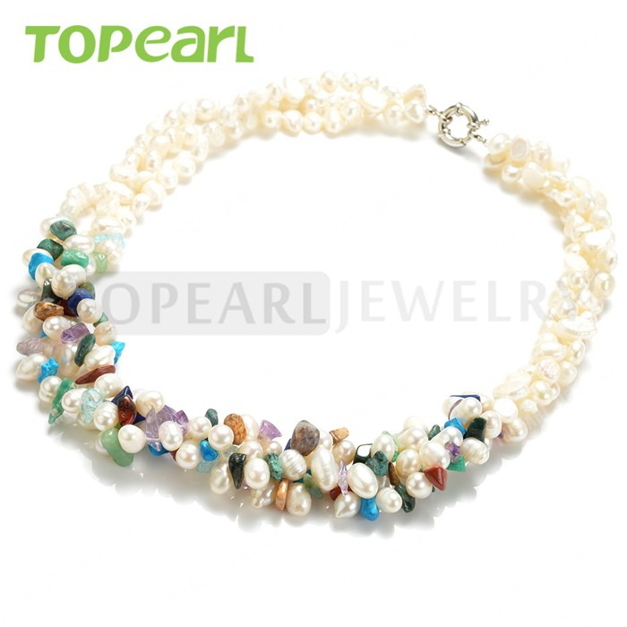 TPN55 Topearl Jewelry Mix-color Stone White Nugget Freshwater Pearls Three Strands Necklace