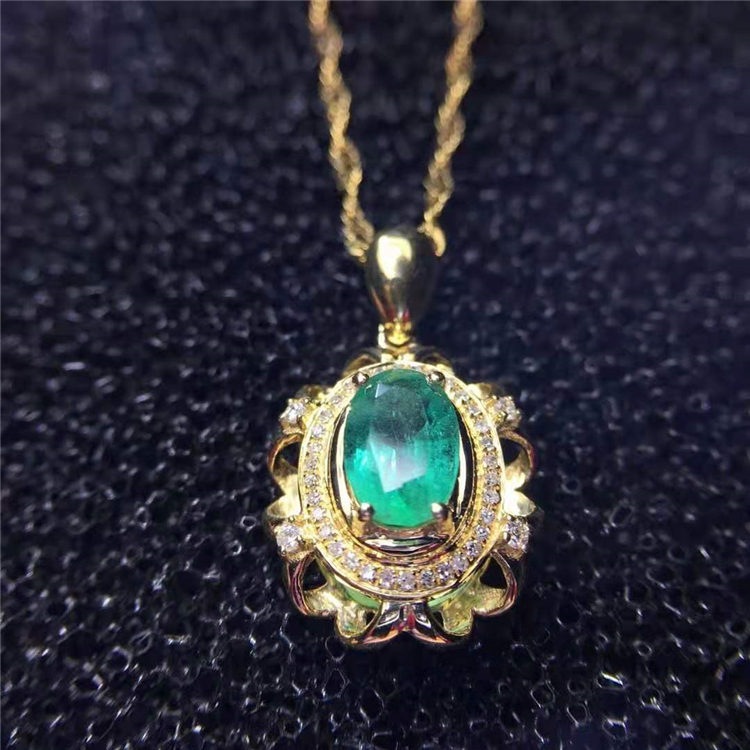 Luxury Vintage Jewelry In Yellow 18k Gold 0.7ct <strong>Natural</strong> Green <strong>Emerald</strong> <strong>Pendant</strong>