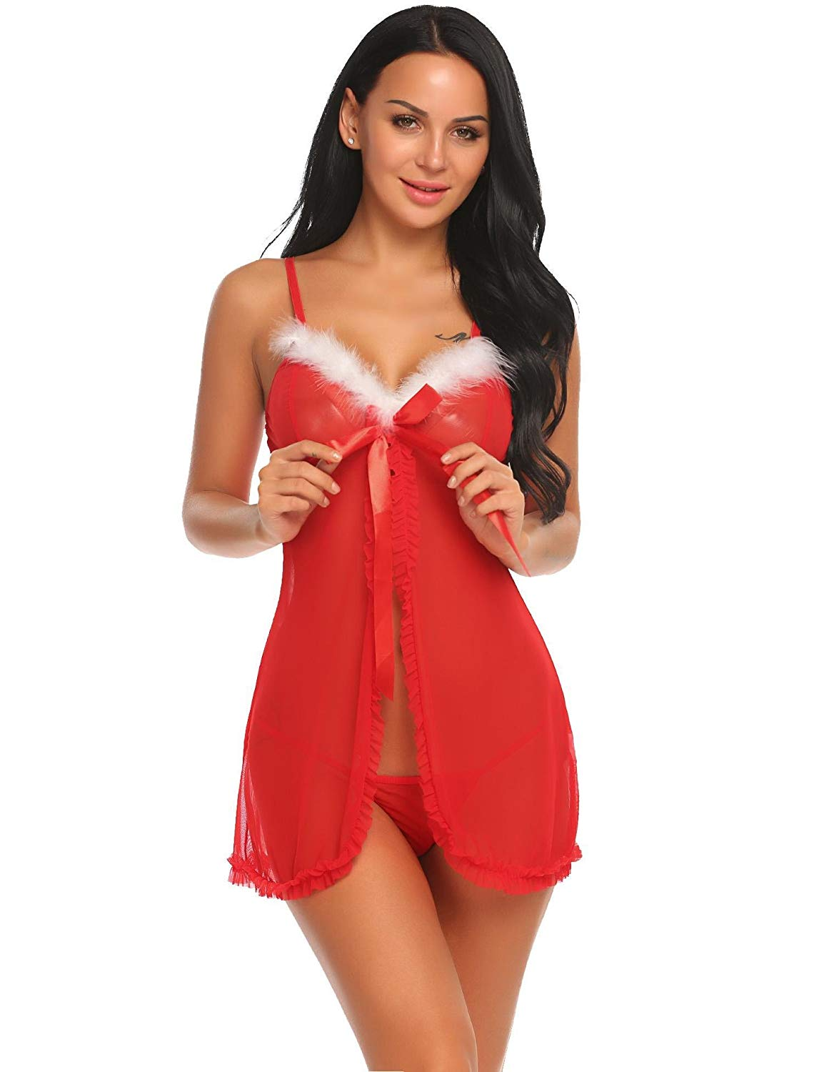 08277abe4ea Get Quotations · Hufcor Ladies Bikini Sexy Lingerie Underwear Party Fancy Santa  Dress Xmas Claus Costume Outfit