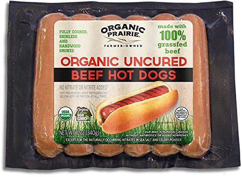 Organic Prairie, Uncured Organic 100% Grassfed Beef Hot Dogs, 6 pack, 12 oz