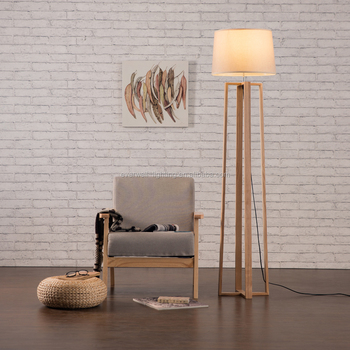 Timber Tripod Floor Standing Lamp With Linen Lamp Shade Antique ...