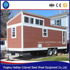 China pop hot wooden movable prefabricated green eco container homes with wheels tiny house trailer mobile design