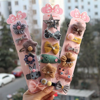 Free shipping latest design kids hair clips gift sets girls hair rope bow cartoon baby fancy hair elastic accessories