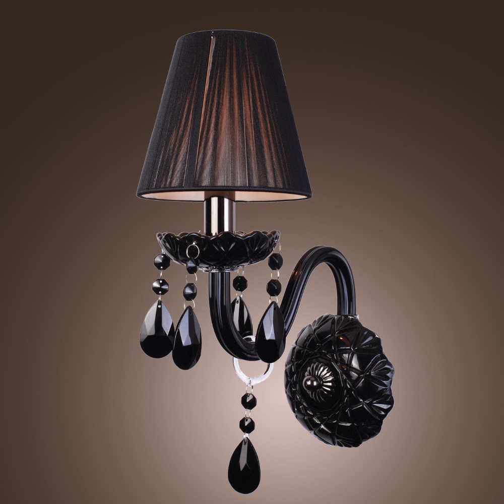 best loved 8189f 4e7c5 Luxury Baccarat Style Single Bulb Black Crystal Mounted Wall Light With  Shade For Bedroom Bedside - Buy Black Crystal Wall Sconce Lamp,Baccarat ...