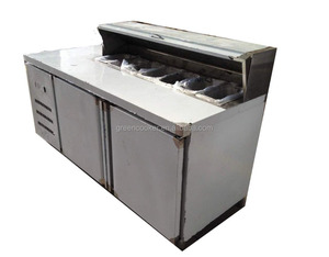 commercial 304 stainless steel pizza workbench/pizza refrigerator with 2 or 3doors/ refrigerated salad bar