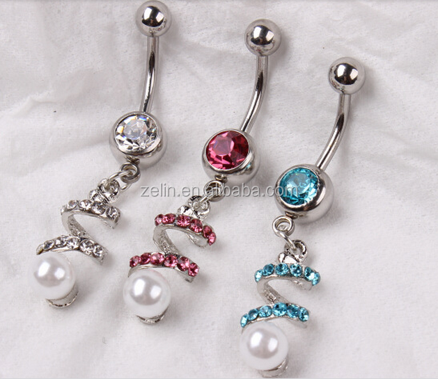 Gem Glass Stone Jeweled Pearl Navel Belly Ring Belly Piercings Jewelry Free Belly Button Rings View Body Piercing Jewelry Zl Product Details From