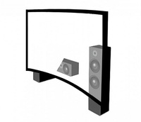 "2.35:1 format 150"" acoustically transparent curved fixed frame movie projector screen"