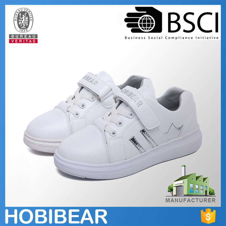 High quality white skateboard shoes with pu upper child casual shoes boy
