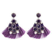 Popular Vintage Style Pearl Pictures Stone Lapiz Miyuki Beads Tassel Dangle Earrings with Factory Price