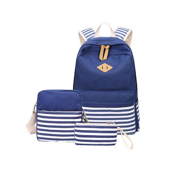 Luxury Women Backpacks 3pcs Set Canvas Stripe Stylish School College Bag  Student Teenager Girls Bookbag Laptop cd04c20cc49ac