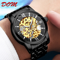 DOM luxury diver wristwatch japan movement skeleton mechanical automatic business wrist watch for men