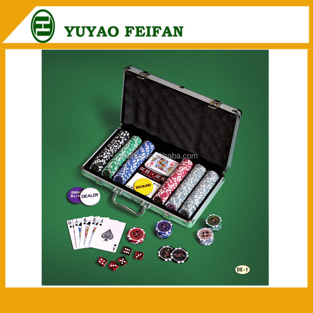 Texas Hold 'em Profi Set In Caso di Alluminio di Qualità 300 Poker Casino Chip ser