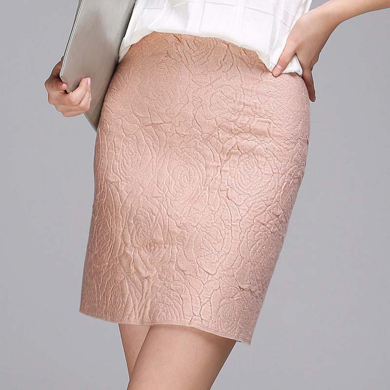W11114 Thick wool knit Rose printed A line skirt women skirts for autumn