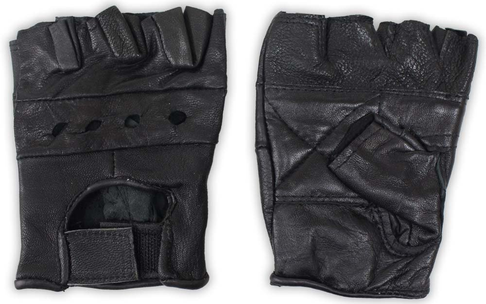 Fingerless Leather Gloves with Mesh Backs , Automotive, tool & industrial , Office maintenance, janitorial & lunchroom , Gloves , Fabric