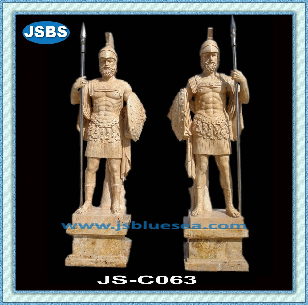 Garden Hand Carved Natural Stone Chinese Warrior Statue