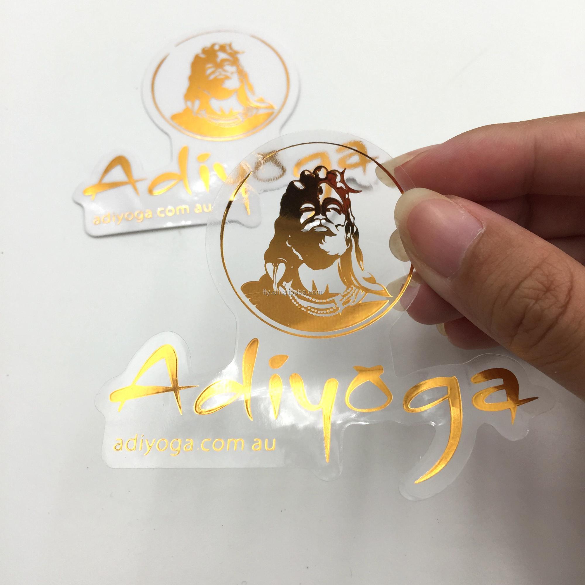 Custom die cut clear sticker metallic sticker hot stamping gold foiled label m a484