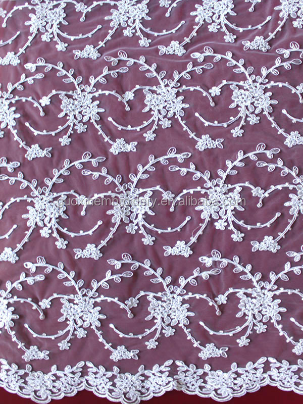 2015 high quality embroidered lace fabric/ cord embroidery fabric for bridal