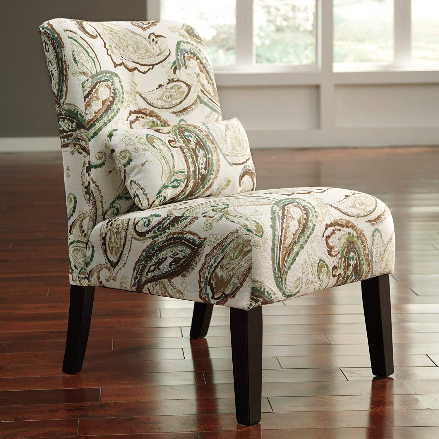 Upholstered Armless Accent Chair With Kidney Lumbar Pillow, Plush Cushion Foam Padded Seat, Contemporary Style, Durable Construction, Ideal For Living Room, Bedroom, Pattern Fabric + Expert Guide