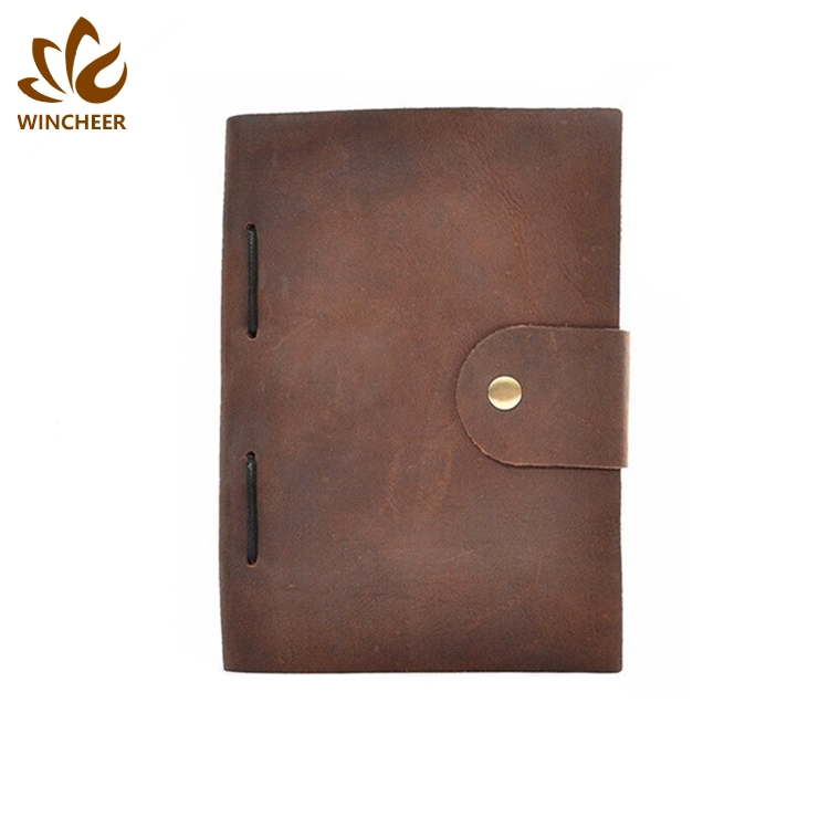 2019 China supply office papier agenda crazy horse leather journal custom cover vintage notebook