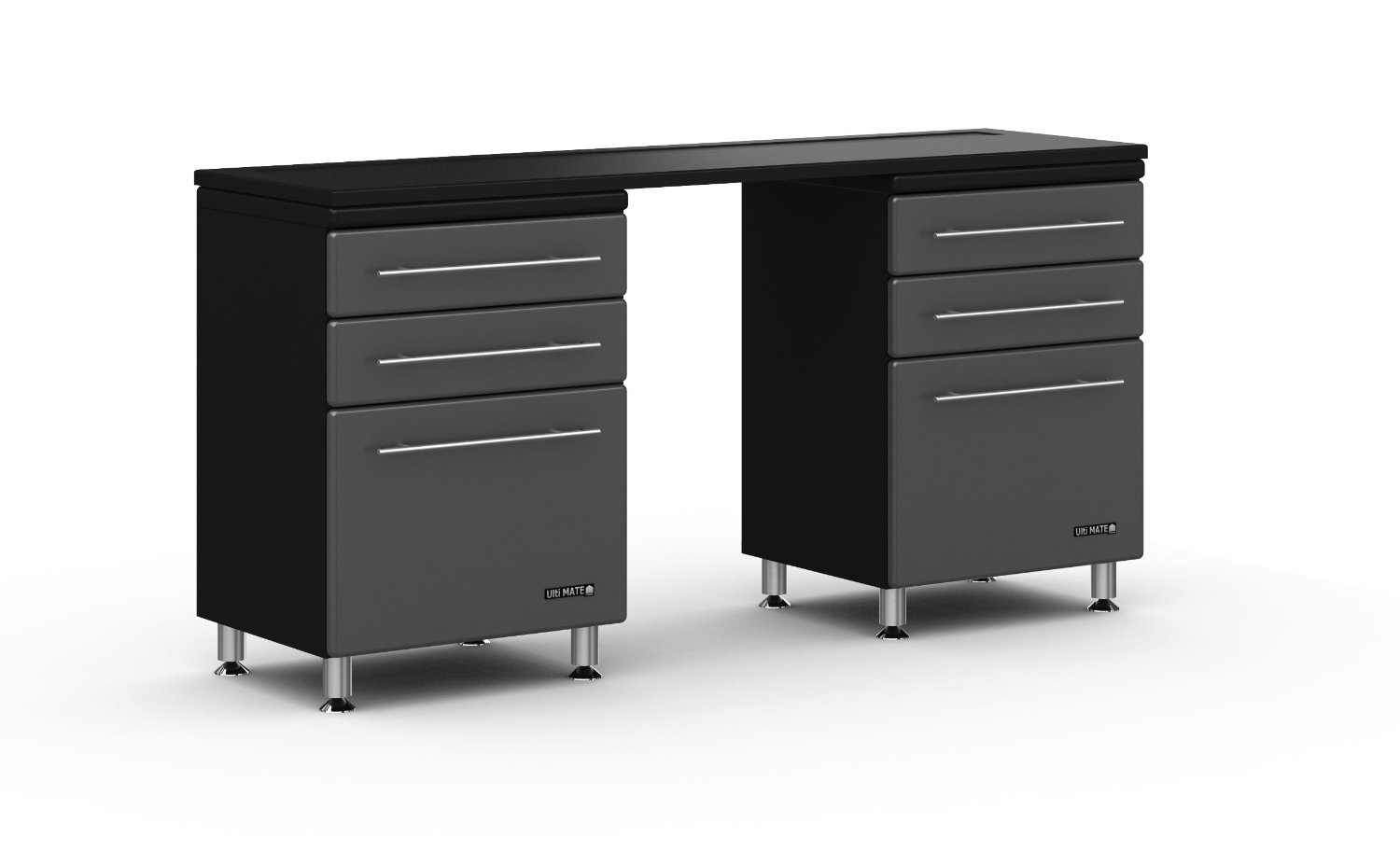 "Ulti-MATE Storage 3-Piece Kit - GA-0410 -Three (3) Piece Cabinet Kit Includes; 2-Three Drawer Base Cabinets and 1- Worktop 6' Bench Surface - Strong 3/4"" Cabinet Construction - Oversized Storage Capacity - Ball Bearing Drawer Glides For Smooth Operation And 50LB Load Rating - Brushed Chrome Cabinet"