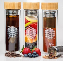 Double walled borosilicate glass tea infuser travel mug for tea