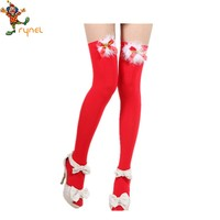 Newest unique red bow wholesale christmas stockings for women PGS0094